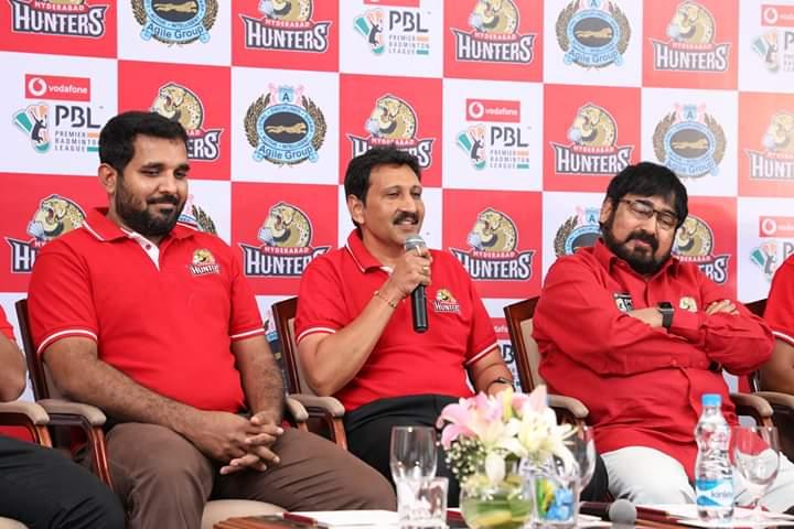 Snapshots from the #HyderabadHunters Pre-Season Press Briefing before the #PBLSeason4 kicks-off! #HuntersArmy #HyderaBADDIES (3/3)