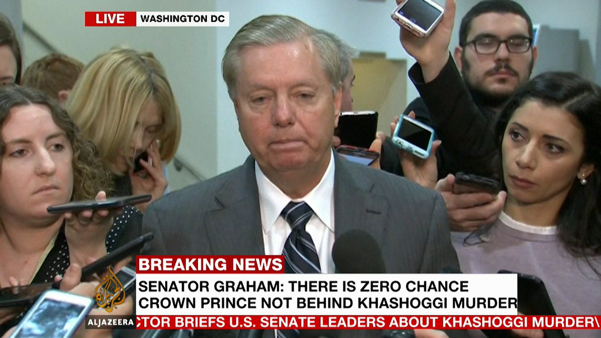 Republican Senator Lindsey Graham says Saudi Arabia is a strategic ally and the relationship is worth saving but not at all costs. There is no doubt that MBS is complicit in the muder of #Khashoggi. He is crazy. He is a wrecking ball.