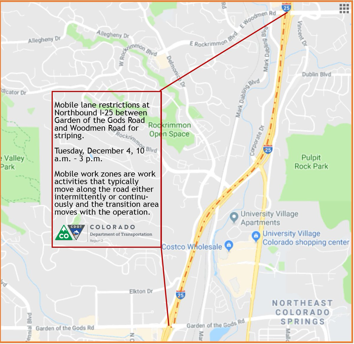 TRAFFIC ALERT - NB I-25 in Colorado Springs from 10am to 3pm today, drivers will experience mobile lane restrictions between Garden of the Gods and Woodmen Road. Crews will be working on pavement markings in the area. Expect delays in the area.