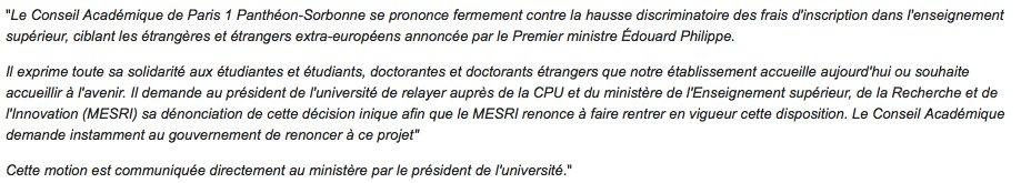 Motion du conseil académique de @SorbonneParis1 contre la hausse des frais d'inscription ciblant les étudiant·e·s et doctorant·e·s extracommunautaires.