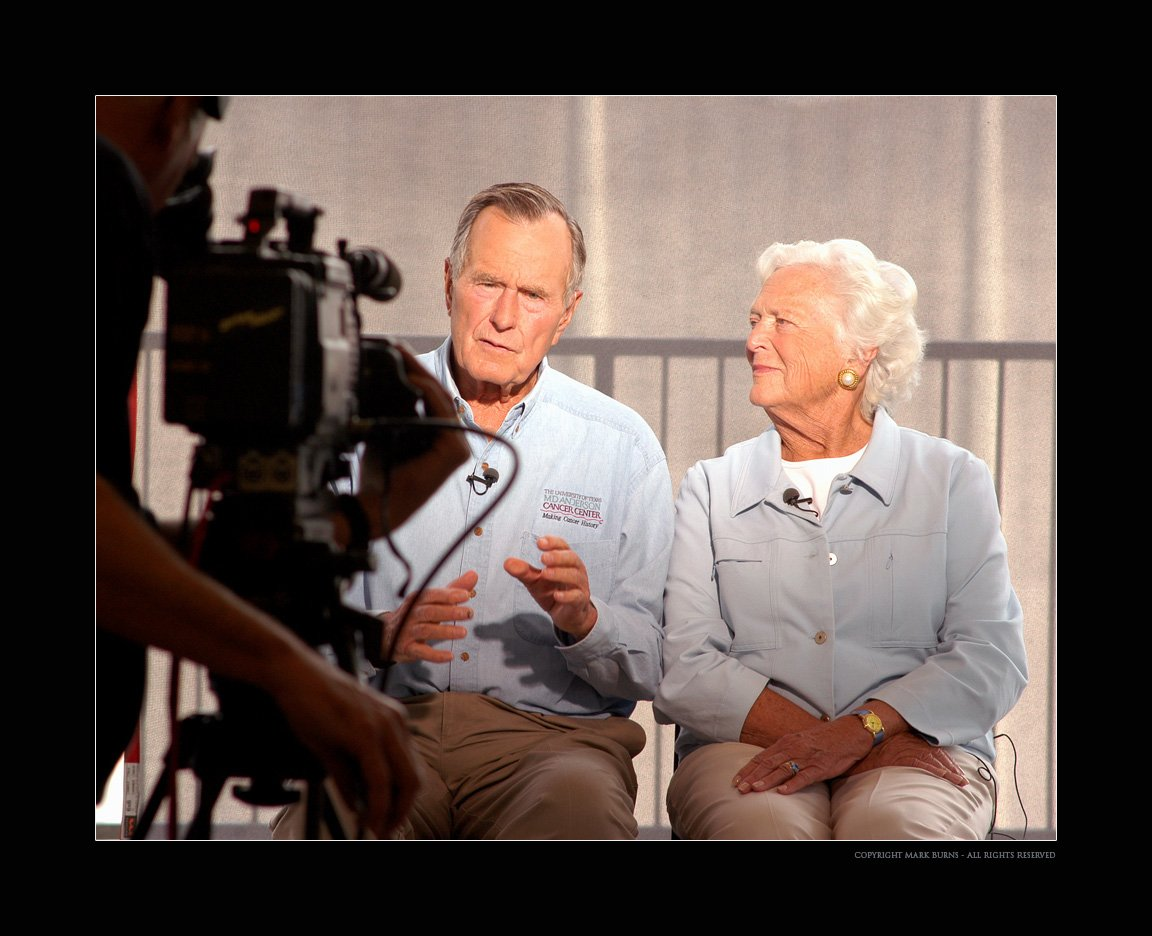 Heres a photo that I made in 2005 of former President George H. W. Bush and Barbara Bush taping a PSA for the Bush-Clinton Katrina Fund. Public service in action... #PresidentGeorgeHWBush #Bush41