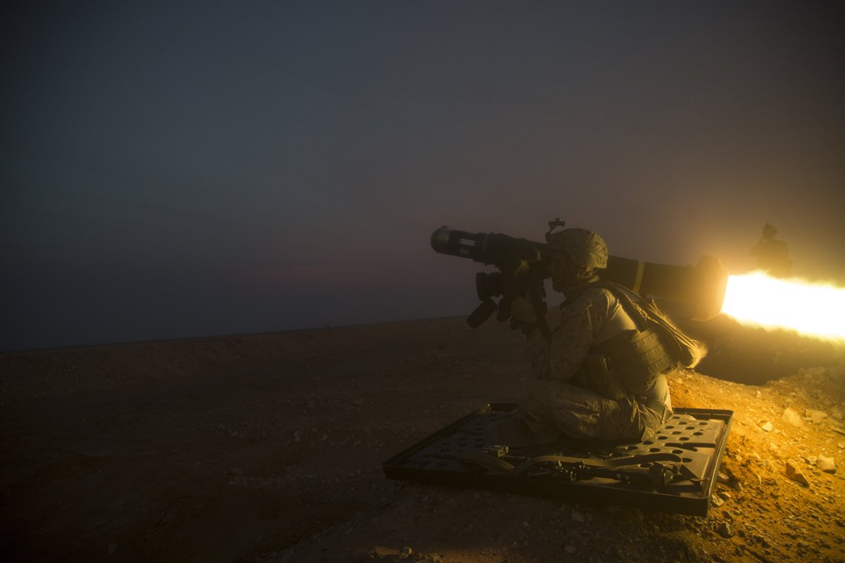 Light It Up Lance Cpl. Guillermo Ibarra, with the 13th Marine Expeditionary Unit attached to Special Purpose Marine Air-Ground Task Force, Crisis Response-Central Command, fires a Javelin shoulder-fired anti-tank missile, Nov. 18, 2018.