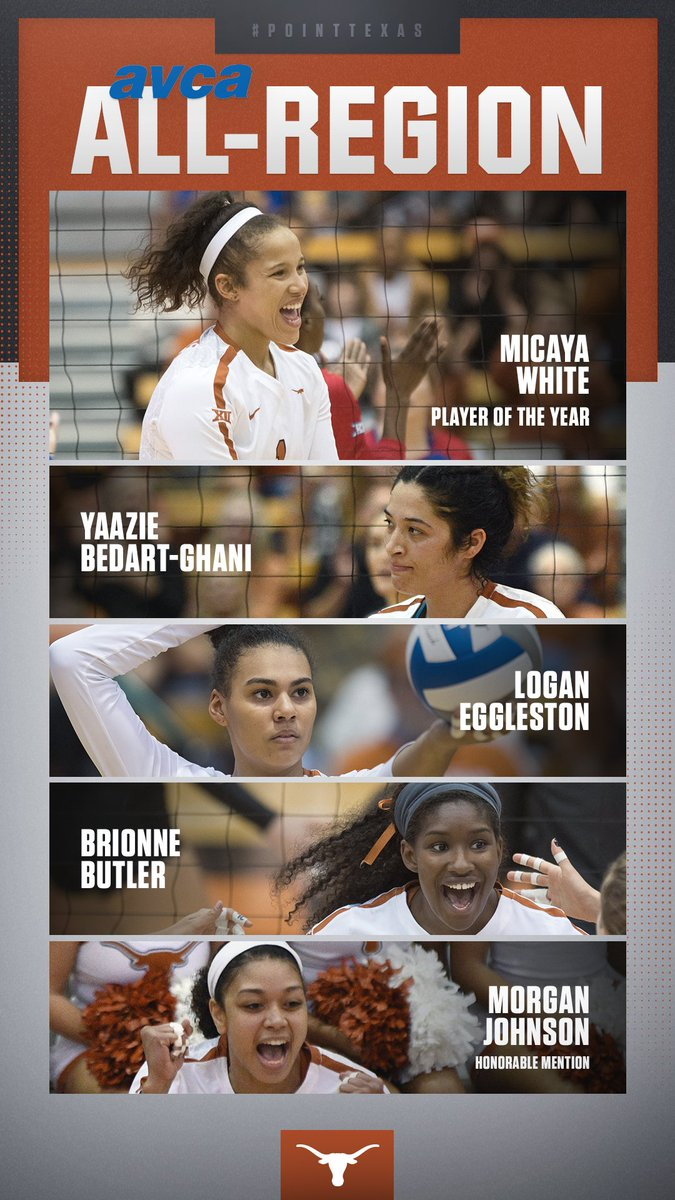 Micaya White picks up another big honor as she is our Southwest Region Player of the Year!   Also named to the Southwest Region team: 🏐@yaaziebg  🏐@loganegg_  🏐@ButlerBrionne  🏐@morganj___ (HM)  #PointTexas 🤘