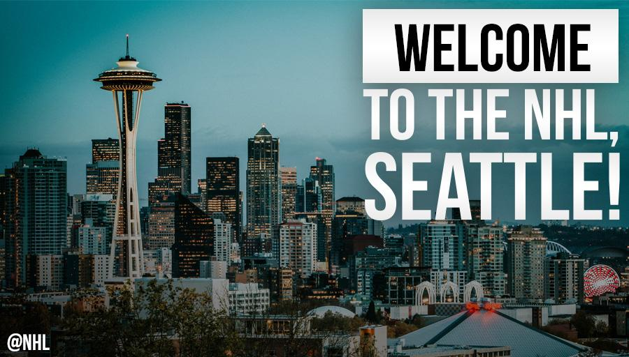 Congratulations, @NHLSeattle_! 👏🏼  The NHL's 32nd franchise will begin play in the 2021-22 season!!!
