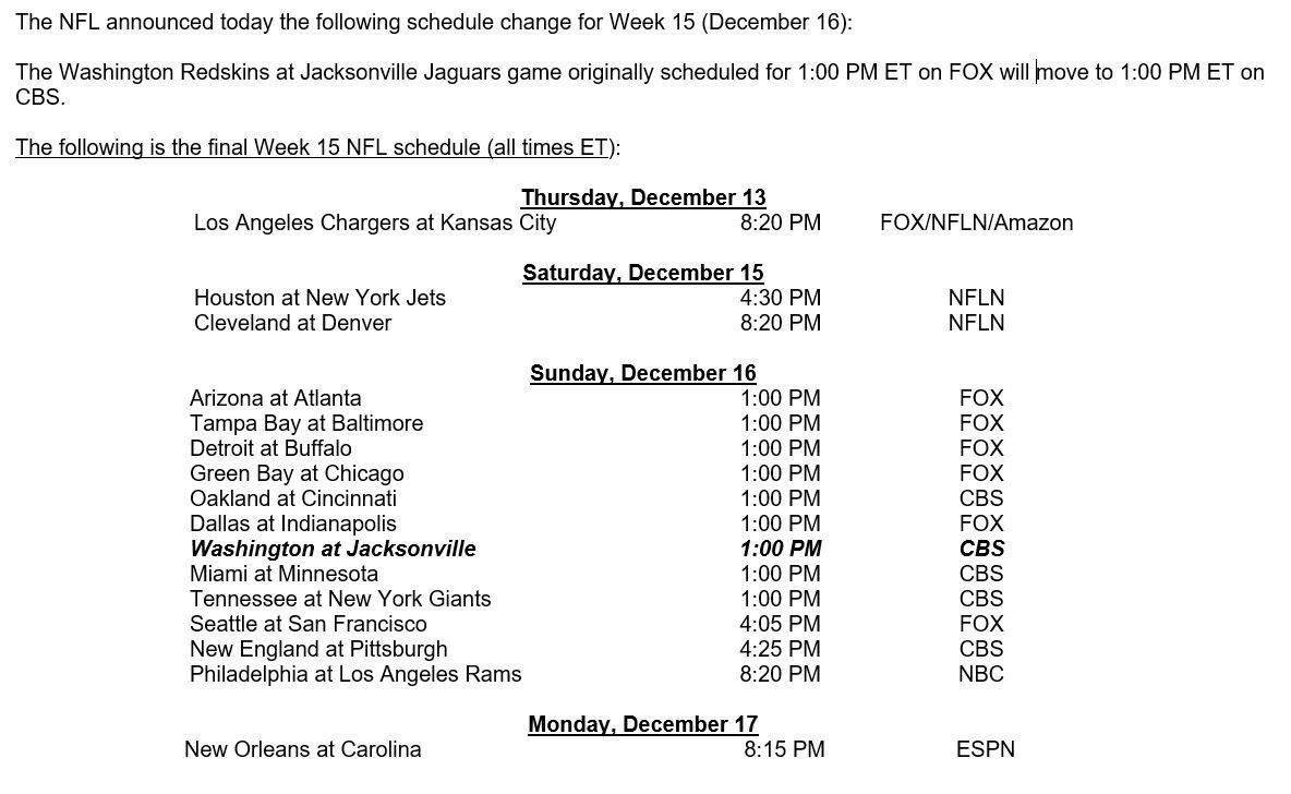 Nfl345 On Twitter Week 15 December 16 Nfl Schedule Change Redskins Jaguars Game Moves To Cbs Https T Co Yknnjvlvdx