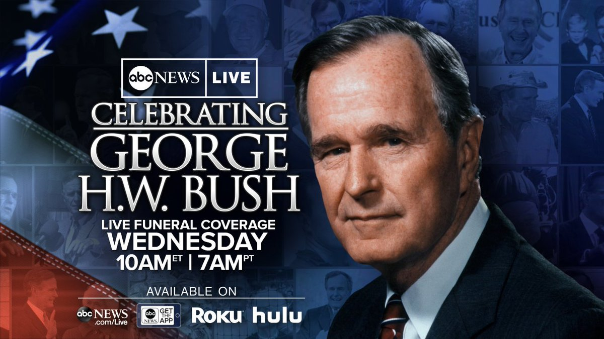 TOMORROW: The nation pauses to remember former President George H.W. Bush. Live coverage begins at 10 am ET on @ABC and ABCNews.com/live. #Remembering41