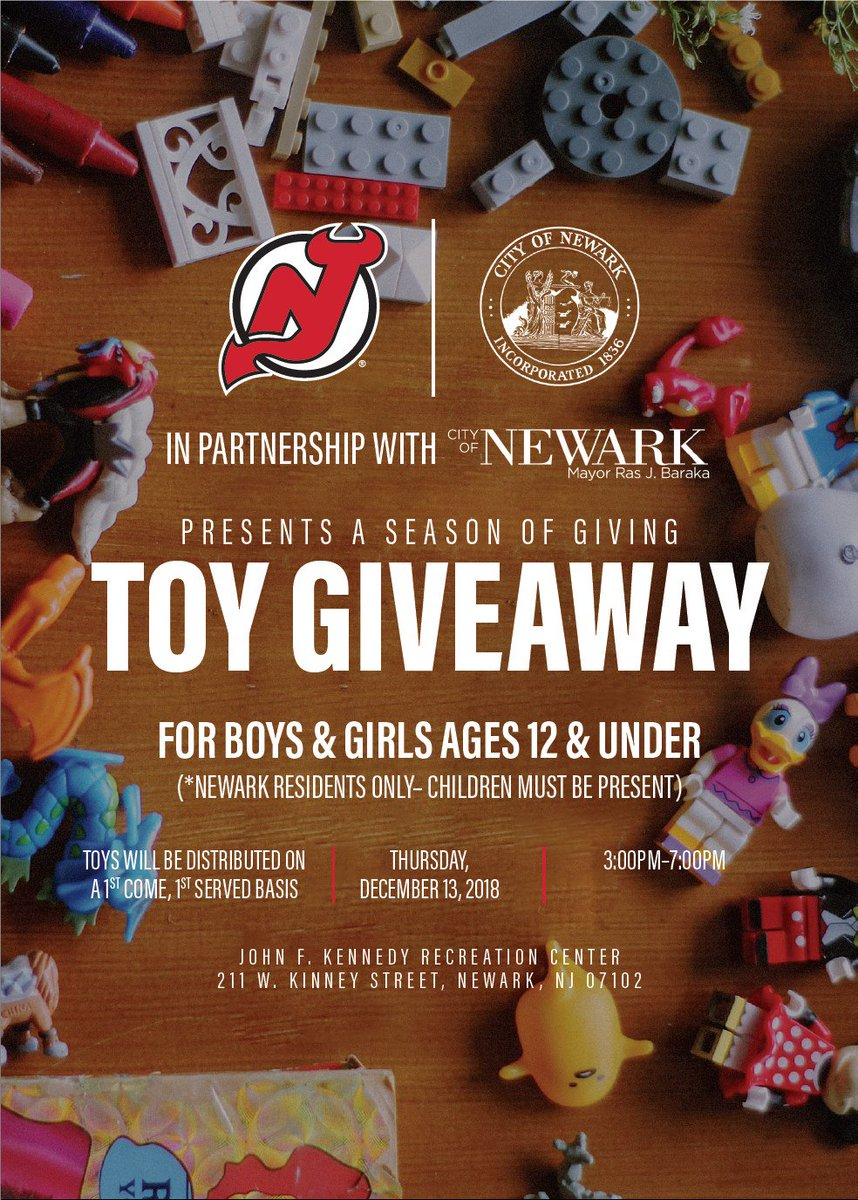 SAVE THE DATE: We are teaming up with the @NJDevils for a holiday #ToyGiveaway for children 12 years old and younger on Thursday, Dec. 13, at JFK Recreation Center. Toys will be distributed on a first come, first served basis.