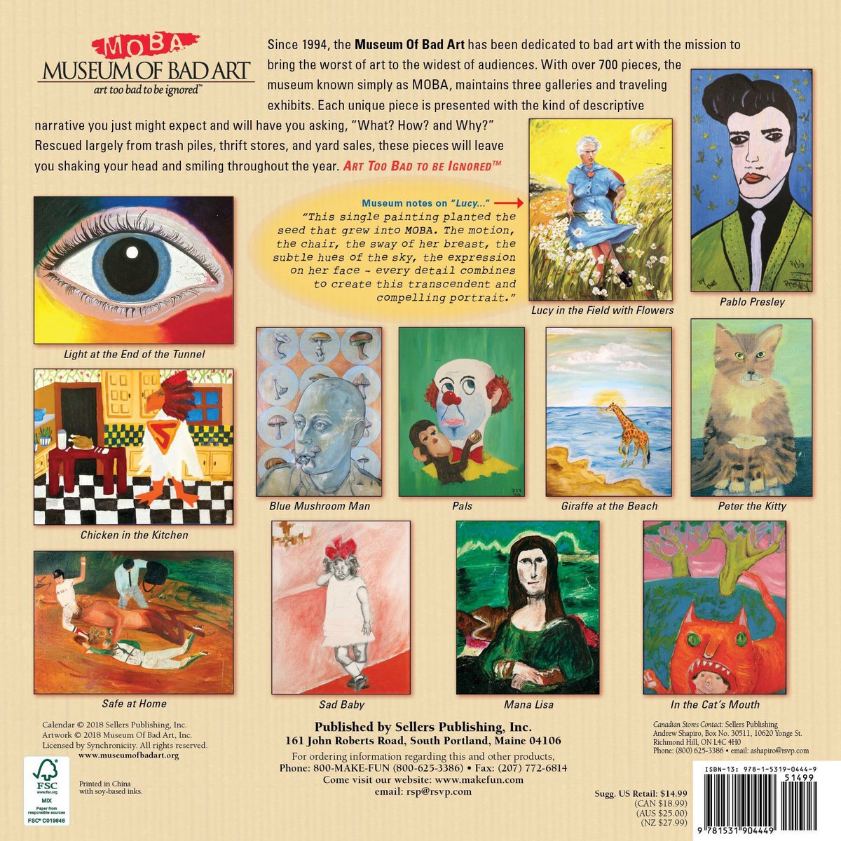 Here's The Museum Of Bad Art 2019 wall calendar! Rescued from thrift stores  & yard sales, these unique pieces include descriptive narratives. ...