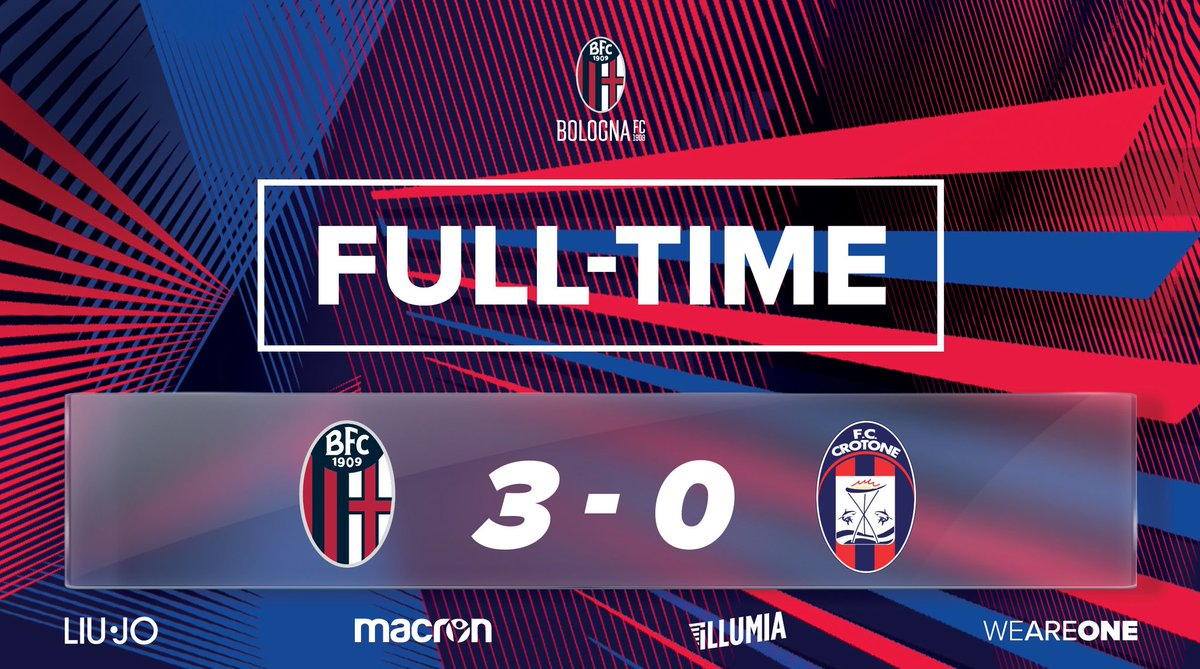 ⏱ FULL-TIME ⏱  A good, professional display by the Rossoblu. We will now face @juventusfcen at the Round of 16 stage of the #CoppaItalia! 🏆👏  #BolognaCrotone 3-0 #WeAreOne 🔴🔵