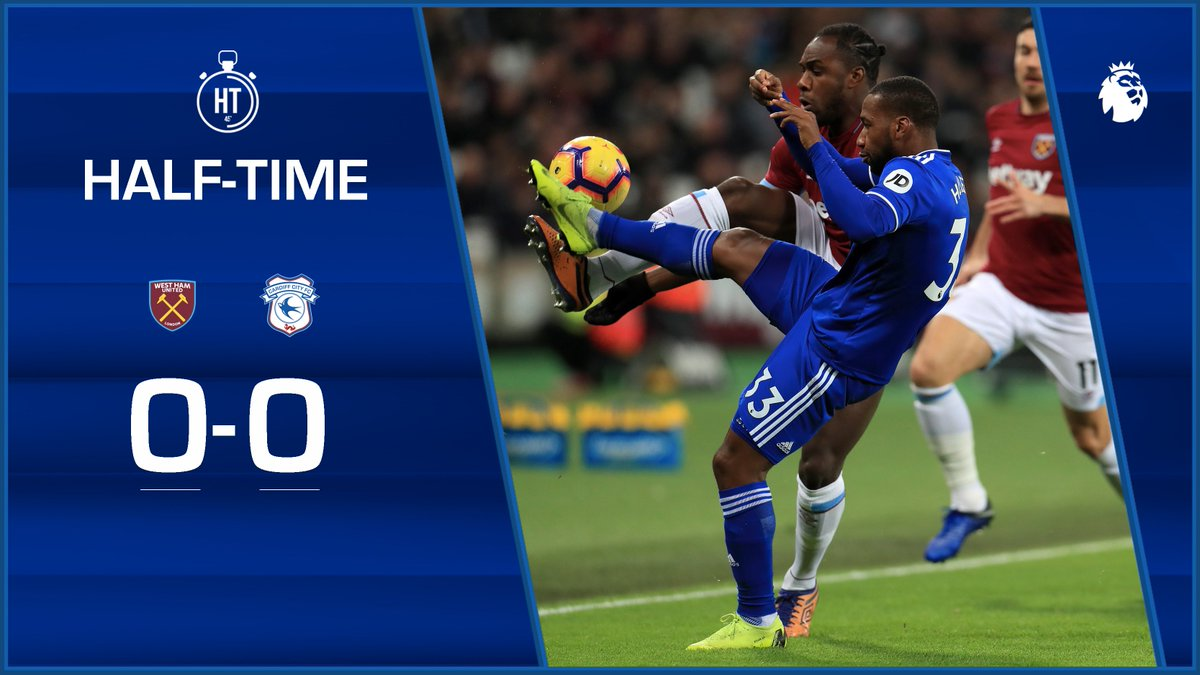 HALF-TIME: @WestHamUtd 0-0 #CardiffCity The home side had the best of the opening, but the #Bluebirds have grown into this match. All still to play for at the London Stadium. #WHUCAR #CityAsOne 🔵⚽️🔵⚽️