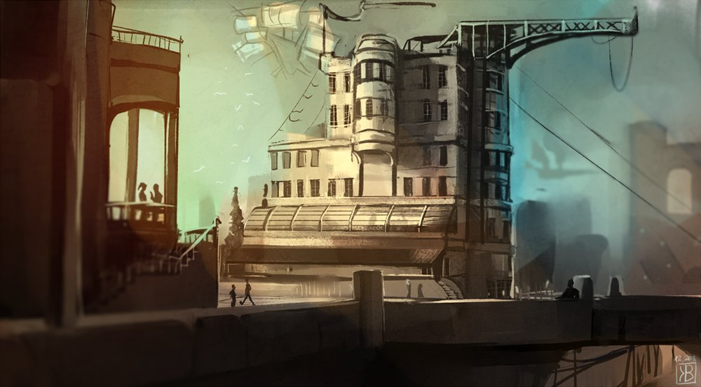 Enviro #sketch I did as a part of a challenge. It started as ruins in the middle of some desert and somehow turned into this.   #landscape #urban #airship #steampunk