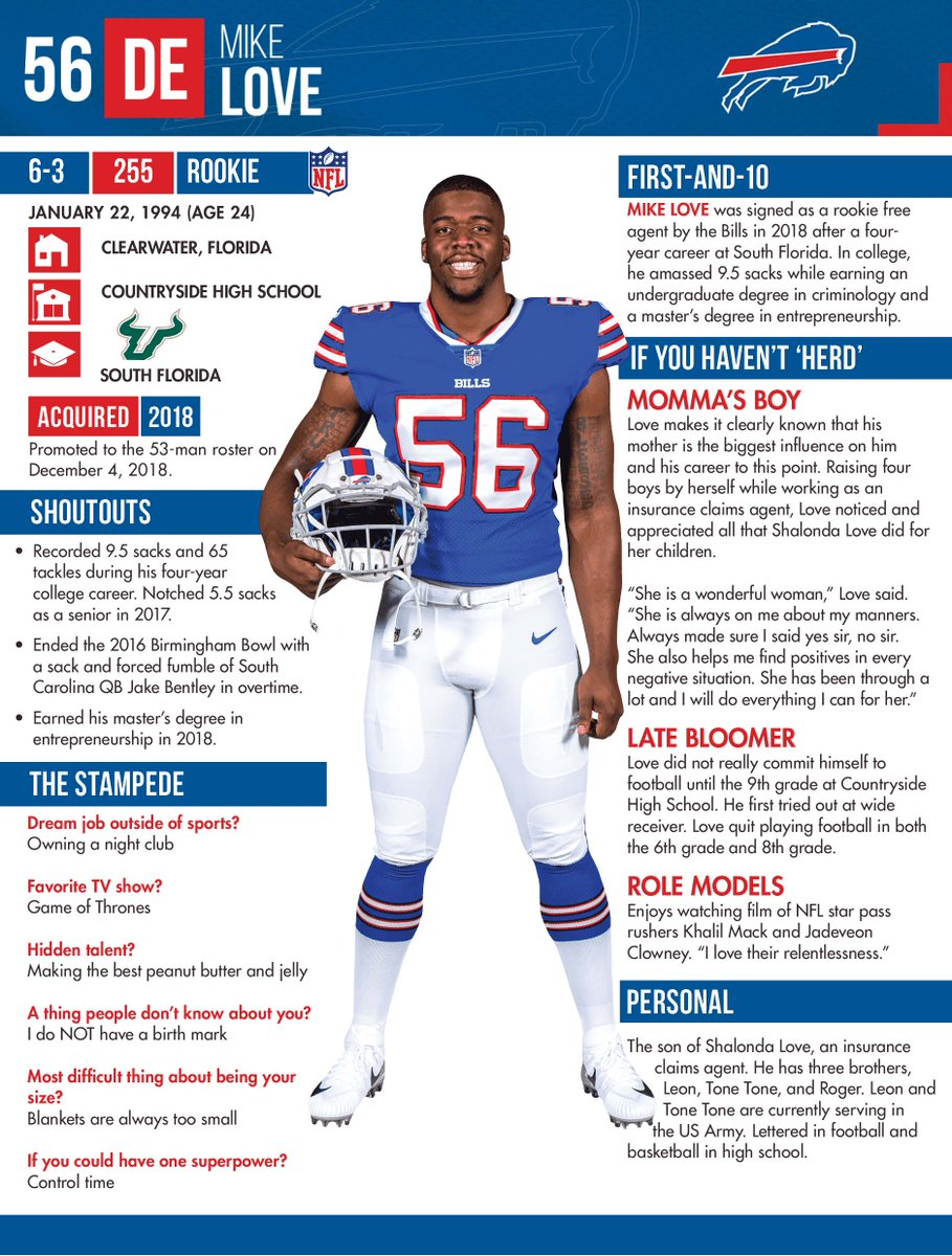 Signed to the 53-man roster: DE Mike Love &amp; CB Denzel Rice (from the practice squad)  Released: WR Kelvin Benjamin &amp; WR Andre Holmes  Placed on injured reserve: C Russell Bodine (leg)  More info on the Bills DE &amp; CB: <br>http://pic.twitter.com/f3pe6HWoNz