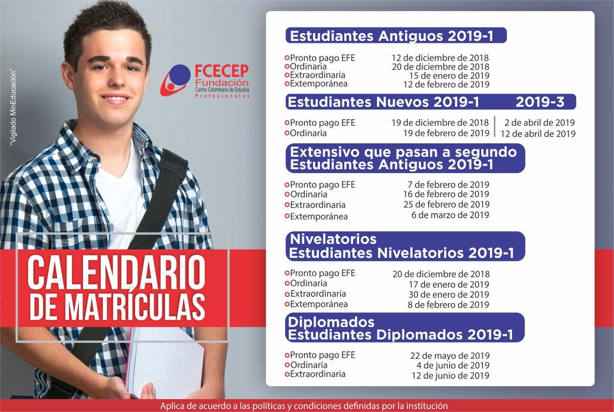 Fechas de matriculas para el periodo 2019-1.  #yoSoyFCECEP https://t.co/zfgtnuJvg9