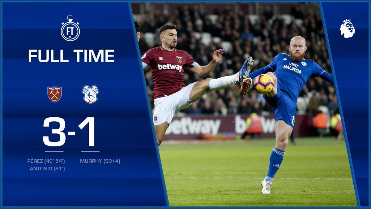FULL TIME: @WestHamUtd 3-1 #CardiffCity A tough evening for the #Bluebirds at the London Stadium. #WHUCAR #CityAsOne 🔵⚽️🔵⚽️