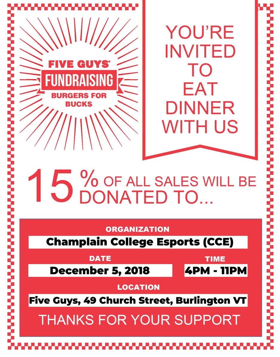 Come To Five Guys On Church Street Tomorrow Wednesday December 5th Any Time From 4pm 11pm And Grab Some Food 15 Of The Money Spent Will Benefit