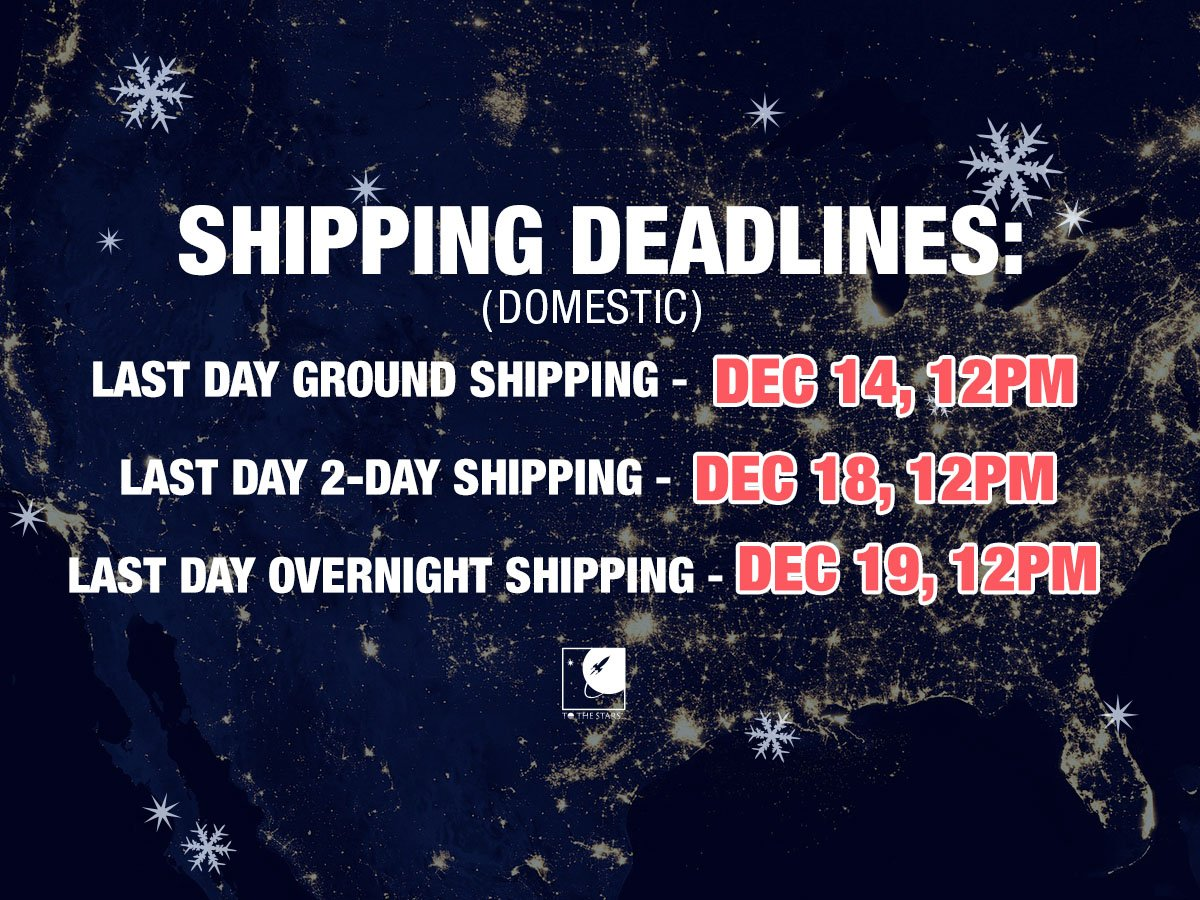 Plan ahead! Here are our Domestic Shipping deadlines to receive your package in time for Christmas.