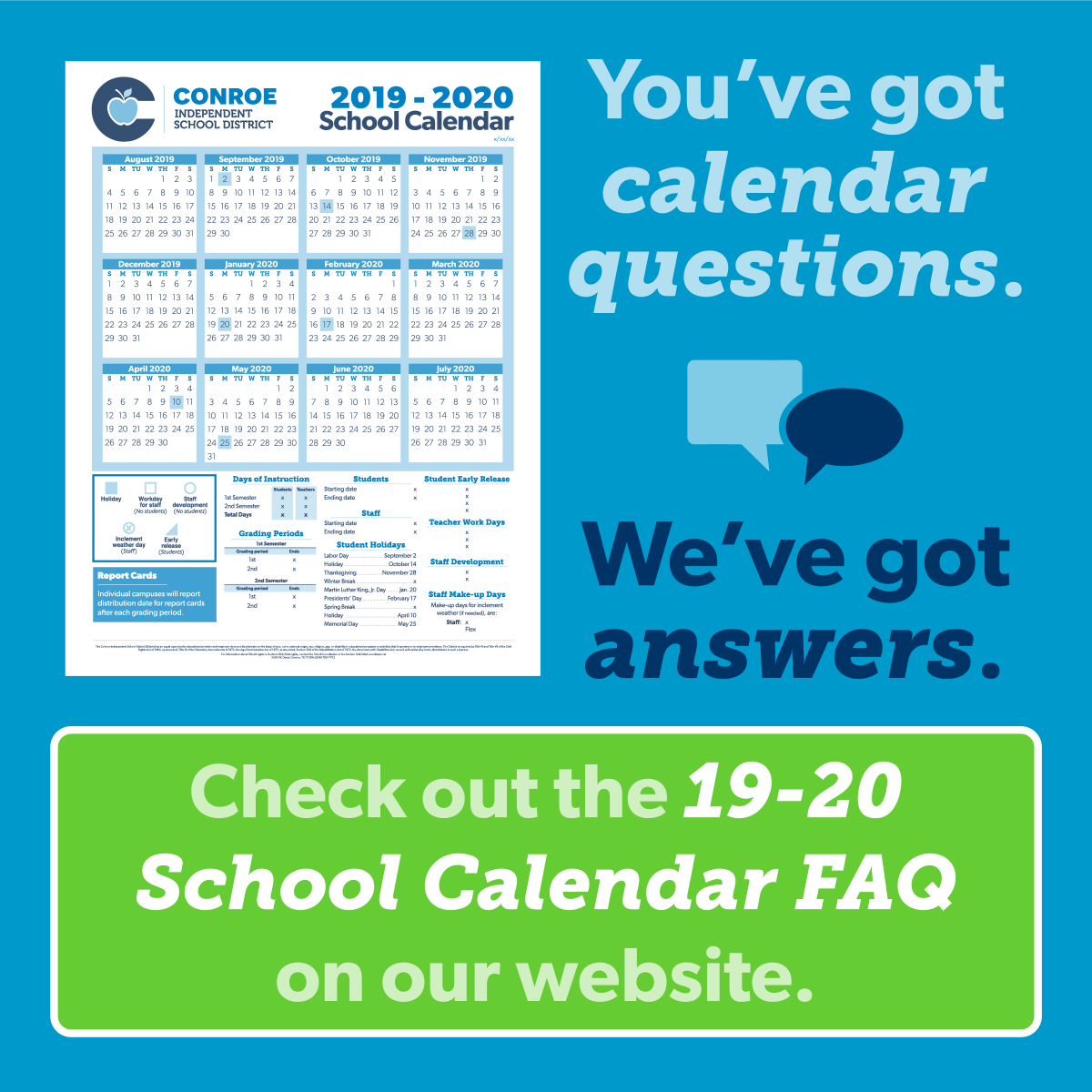 Conroe Isd Calendar 2019 2020.Conroe Isd On Twitter Questions About The 19 20 Calendar Drafts