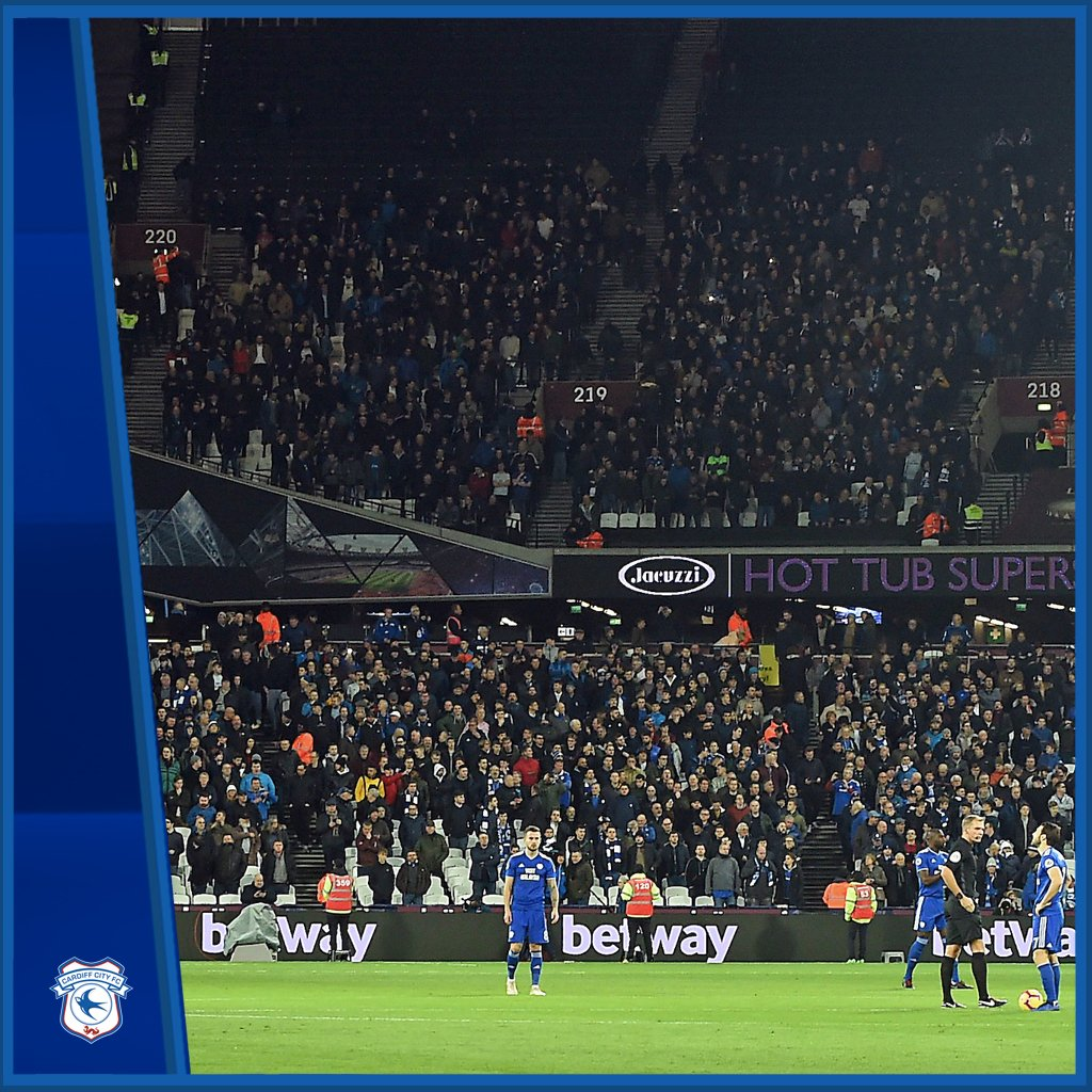 A difficult evening in London. Thank you to the 2000+ #CardiffCity fans, who made such a great noise throughout! Back to CCS this Saturday, where the #Bluebirds will look to make it three straight home wins! #CityAsOne 🔵⚽️🔵⚽️