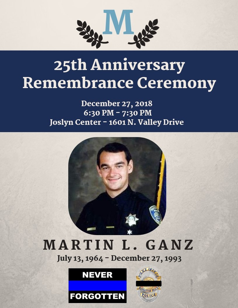 The Ceremony Will Begin At 6 30 P M In Joslyn Center Located 1601 N Valley Drive Manhattan Beach