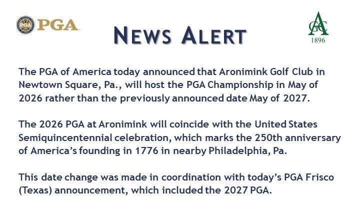 Philadelphia will host the 2026 @PGAChampionship and you&#39;ll be part of the 250th birthday celebration for the United States #Philadelphia #PGAChamp <br>http://pic.twitter.com/SCpXHAJnN9