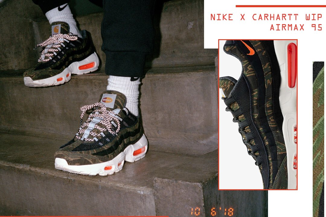 The Nike Air Max 95 WIP is paired with tiger camo over black canvas Carhartt  materials. ⠀ Dropping this Thurs 12 6 in store only at these ... 4c784d980