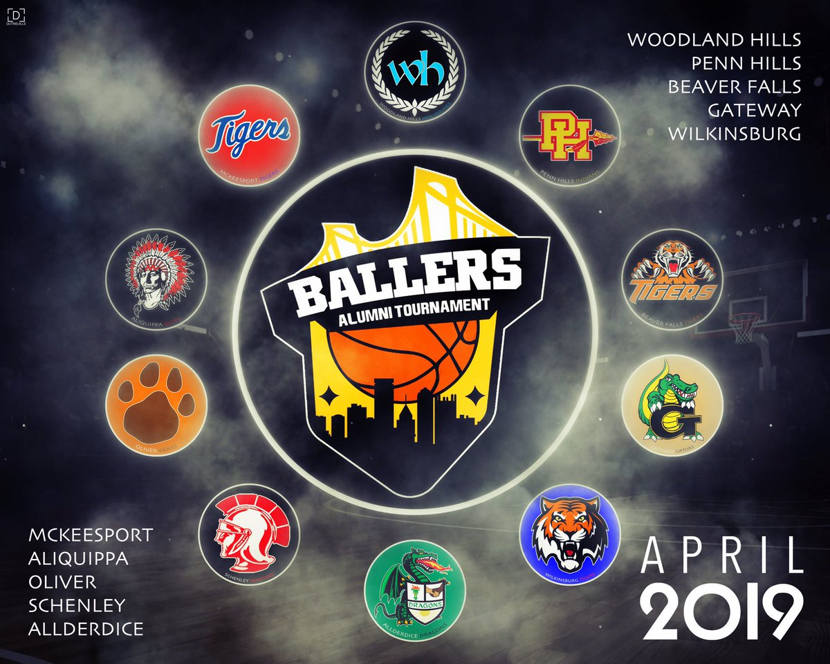 This one is going to set PA on fire. Woodland Hills Penn Hills Gateway Schenely McKeesport Wilkinsburg  Oliver Allderdice Beaver Falls Aliquippa  Ballers Alumni Tournament 2019.  Stayed tuned  @TBATournament <br>http://pic.twitter.com/McDshAeTx9
