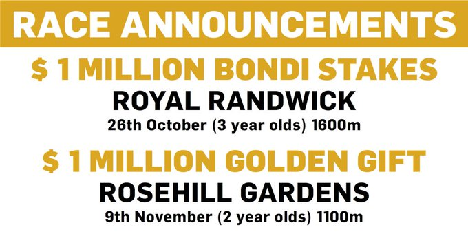 Two more $1m races added to the Sydney Spring Carnival from 2019 - the Bondi Stakes at Royal Randwick and the Golden Gift at Rosehill Gardens. Photo