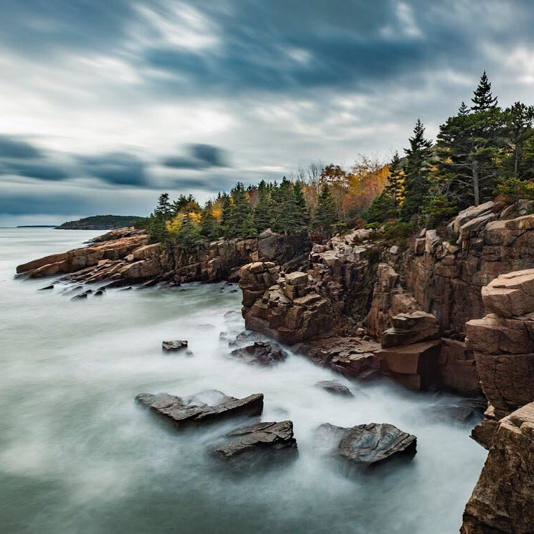 Long exposure captures the movement of sea & sky @AcadiaNPS. Pic by Naomi Blinick #Maine #FindYourPark