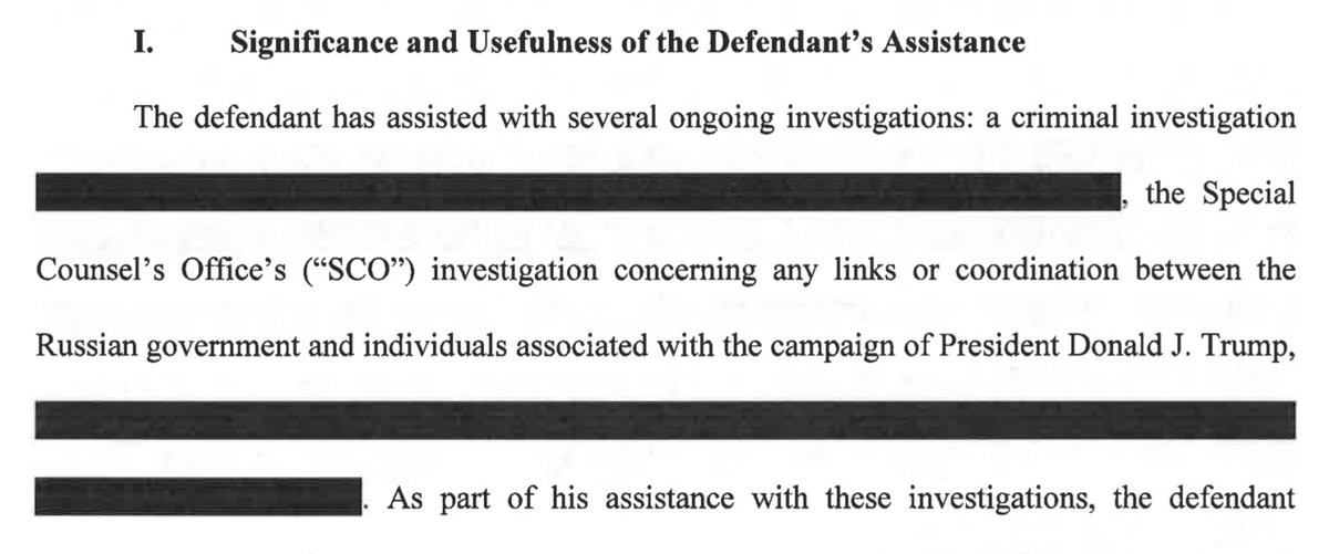 Looks like Flynn aided three investigations: REDACTED criminal investigation, the Mueller probe and REDACTED. Even the subject header of the third is redacted in the full document.