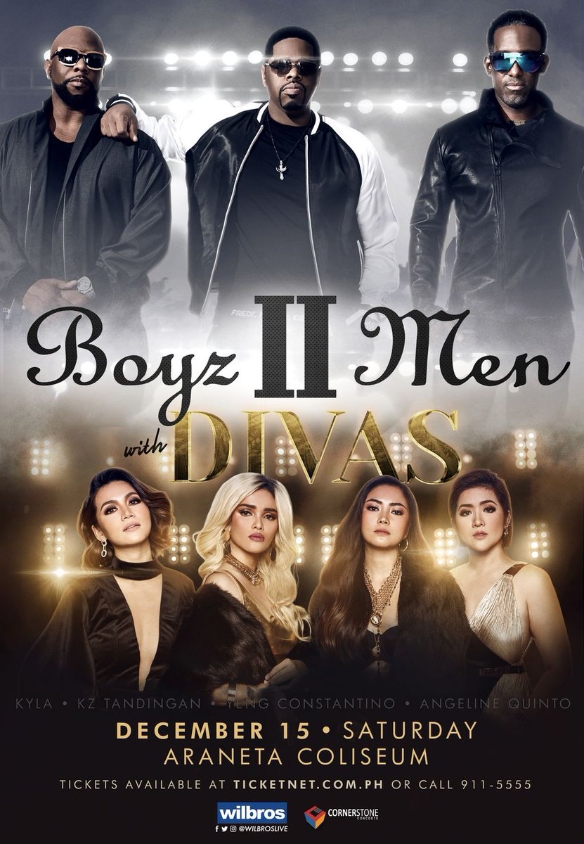 .@BoyzIIMen set to perform in Davao on Thursday, December 13th at SMX Convention Center. They will also bring their show to Manila alongside the DIVAS on Saturday, December 15th at the Araneta Coliseum. #BOYZIIMENwithDIVAS #BoyzIIMenDavao @WilbrosLivePH buff.ly/2KVQCKK