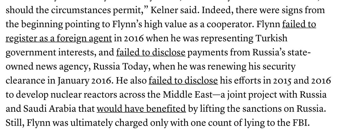 Flynn&#39;s substantial cooperation with Mueller supports the theory that he lied to the FBI to begin with not out of loyalty to Trump but for self-preservation—by the time the bureau came knocking, he was engaged in clandestine dealings w/ Turkey, Russia, KSA  https://www. theatlantic.com/politics/archi ve/2018/12/special-counsel-mueller-recommends-no-jail-flynn/577384/ &nbsp; … <br>http://pic.twitter.com/SerKx28bIh