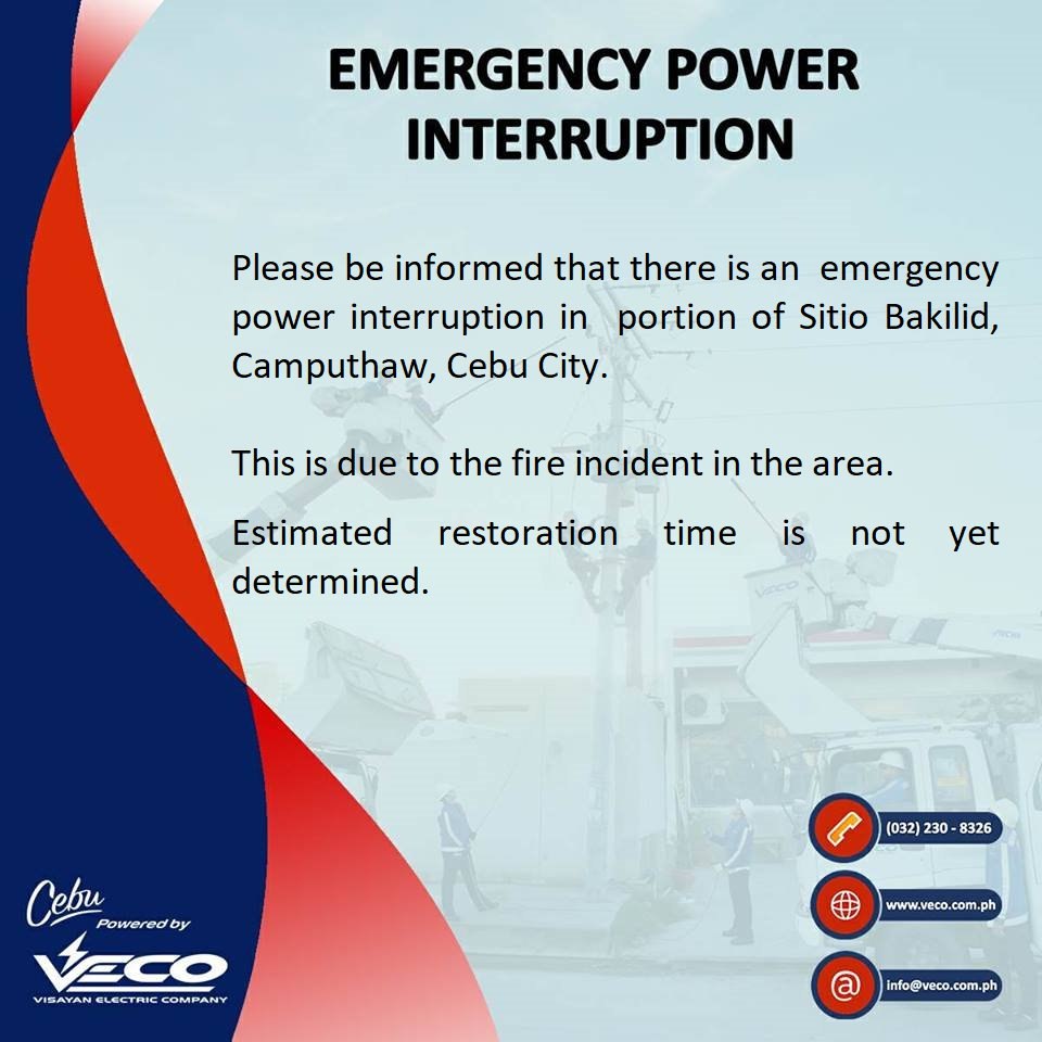 VECO - READ: Please be informed that there is an emergency power