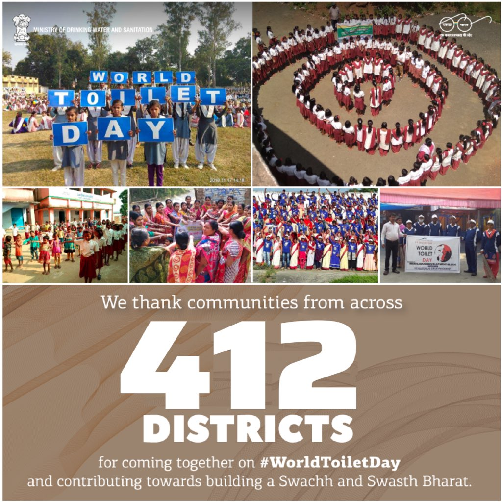 I am very happy to share that 412 districts of our country organized mass mobilization around Swachhata on #WorldToiletDay 2018. I laud the leadership shown by these districts to keep up the @swachhbharat jan andolan!