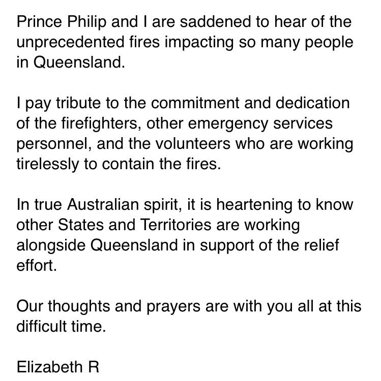 A message from HM The Queen to the people of Queensland following recent bushfires...