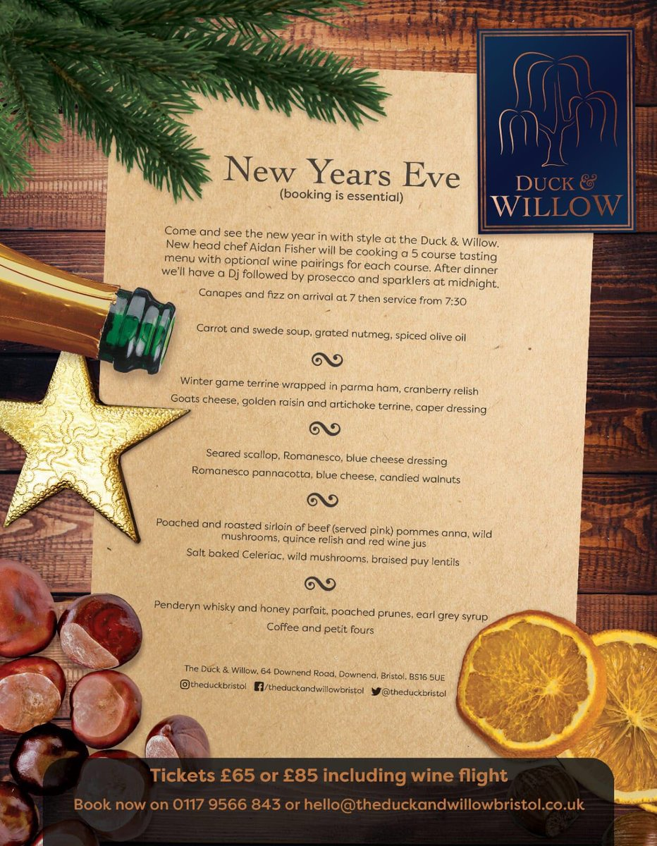 New Year's Eve menu. 🥂 We cannot wait to serve up Aidan's showstopper on the 31st. Seriously mouth watering stuff. we are pairing the menu with wine to ensure the perfect accompaniment, also there will be an After dinner Dance and sparklers at midnight.. Booking essential. #nye