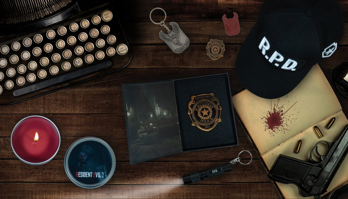 Were incredibly proud to reveal our official Resident Evil 2 merchandise range! #RE2 Shirts, snapbacks, pin badges, mugs, keychains - and even a ZOMBIE-SCENTED CANDLE!? Available to preorder now: bit.ly/2KWcO7H 🧟