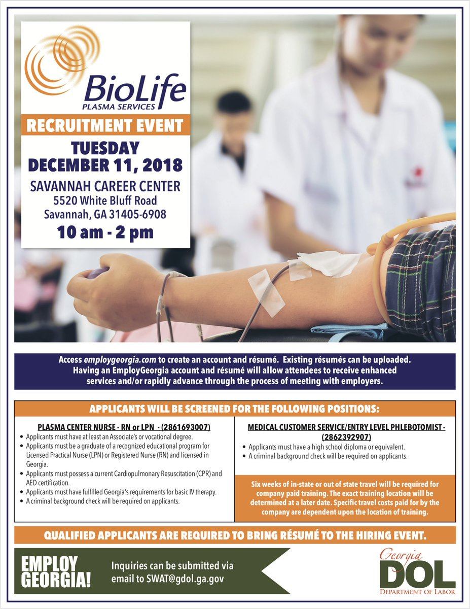 Ga Dept Of Labor On Twitter Gdol Will Be Partnering With Biolife