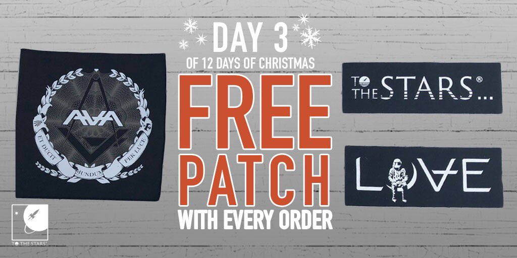 It's Day 3 of the 12 Days of Xmas, and we are giving YOU a present. Get a free patch with every order. (While supplies last, digital items excluded.) Start shopping now! tothestars.media/collections/al…