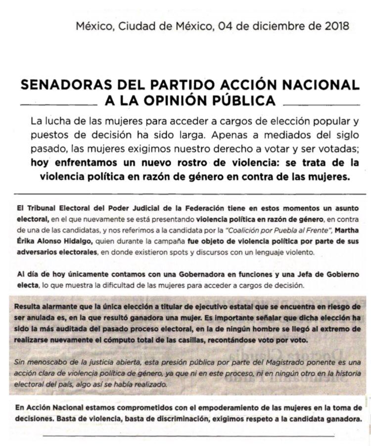 Desplegado de las Senadoras de @AccionNacional.  👉 https://bit.ly/2BR2NFY