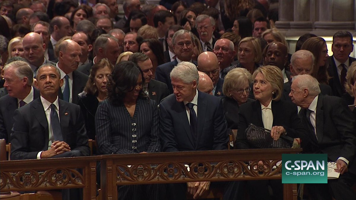 Former presidents and their spouses in Washington National Cathedral for the #GeorgeHWBushFuneral.<br>http://pic.twitter.com/92IQXjbXCV