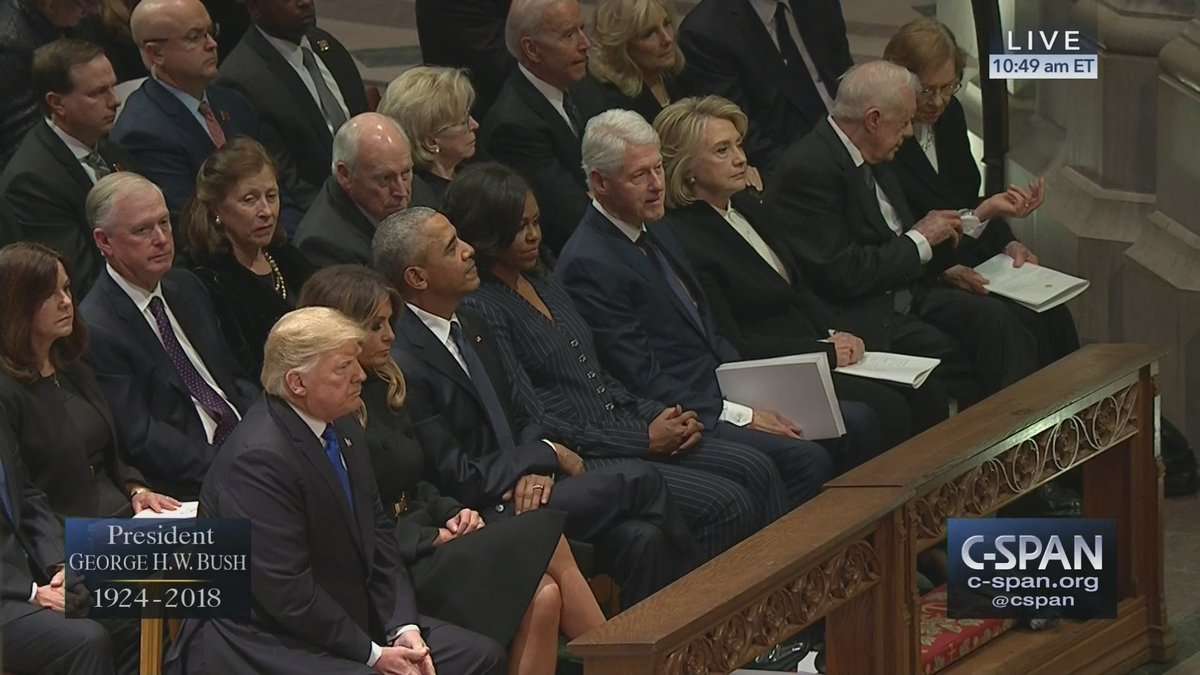 The Trumps are seated next to:  1) The president Trump said was illegitimate (Obama) 2) The president he said assaulted women (Clinton) 3) The first lady/SoS he said should be in jail (Hillary) 4) The president he said was the second-worst, behind Obama (Carter)