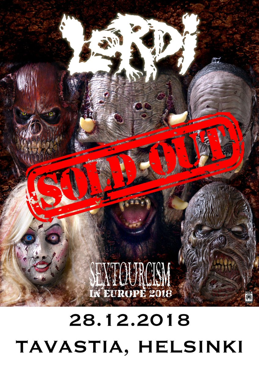 #Helsinki show is sold out! We're immensely grateful to all of you crazy bastards who are going to spend this epic evening with us! See you soon! Presented by @Fullsteamfamily  #lordi #sexorcism #live #metal #hardrock #music #monsters #horror #music #sextourcism #sexyzone https://t.co/Wx2L9VB3o5