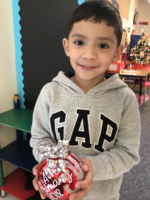 A very special ornament from Alvin Primary to help decorate the AISD Administration Building Christmas Tree. Our happy 1st grader was so excited to help create it. @alvinprimaryedu @AlvinISD Photo