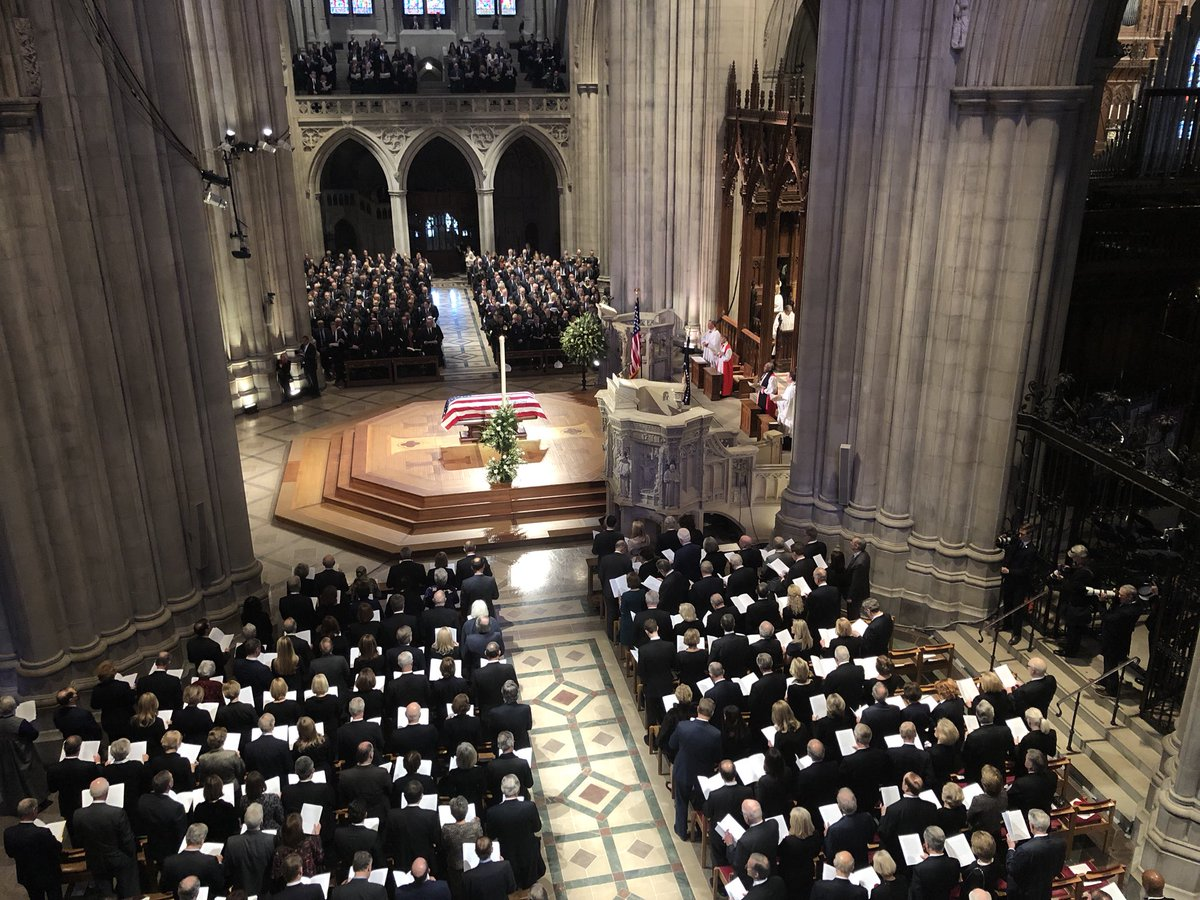 """During a briefing on his funeral plans in 2011, George H.W. Bush asked, """"Do you think anyone will come?"""" This morning, there are more than 3,200 honoring him at the Washington National Cathedral. <br>http://pic.twitter.com/5alJV4Wl7D"""