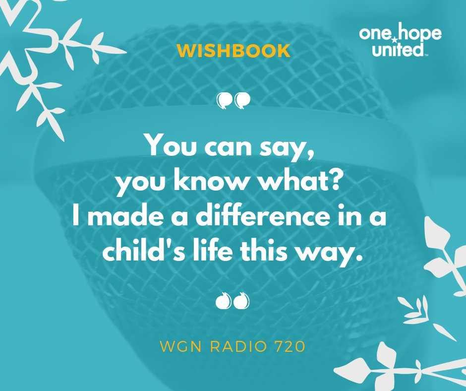 test Twitter Media - Everyone is talking about Wishbook! Our director of development, Stacey Rago, spoke with Andrea Darlas of WGN Radio 720 about how you can use Wishbook to make meaningful gifts that can change the lives of children and families.   Begins at 1:18:00! https://t.co/H8MtItjJWF https://t.co/mfT8ogK8SB