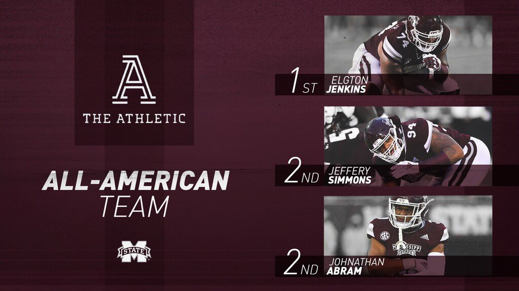 Congrats to this trio on being named All-Americans by @TheAthleticCFB! ☑️ @Big_E_14 ☑️ @GrindSimmons94 ☑️ @JohnathanAbram1 📰: hailst.at/2BReoVw #HailState🐶