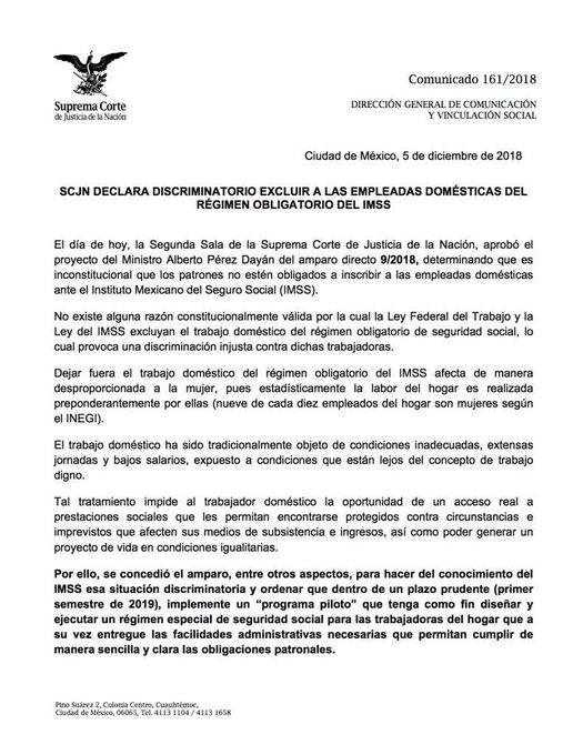 La @SCJN declara discriminatorio excluir a las empleadas domésticas del régimen obligatorio del IMSS: Foto