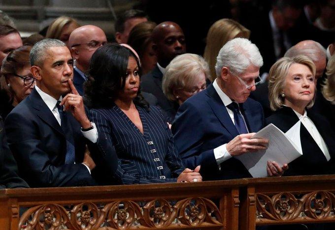 Donald & Melania Trump, Barack & Michelle Obama, Bill & Hillary Clinton attend State Funeralfor former President George Bush Photo