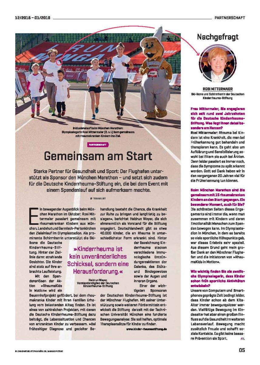 In der Zeitung des @MUC_Airport unter dem Link  https://bit.ly/2GdaQBl  gibt es auf Seite 5 einen Bericht über unseren Rheumakids in Motion Lauf beim @MarathonMunich 2018.pic.twitter.com/QW8YdygfEy