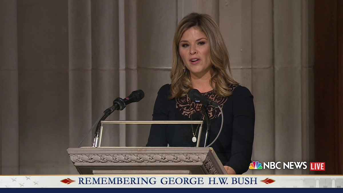 Watch @JennaBushHager deliver a reading from Revelation at her grandfather's funeral. #Remembering41